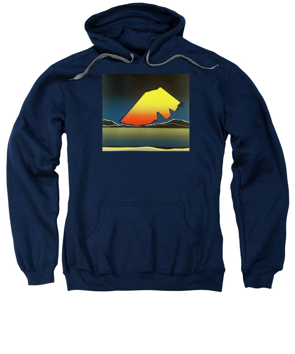 Landscape Sweatshirt featuring the mixed media Northern Light. by Jarle Rosseland