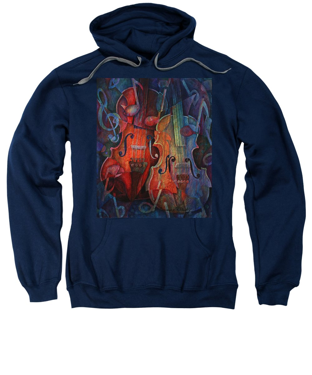 Susanne Clark Sweatshirt featuring the painting Noteworthy - A Viola Duo by Susanne Clark