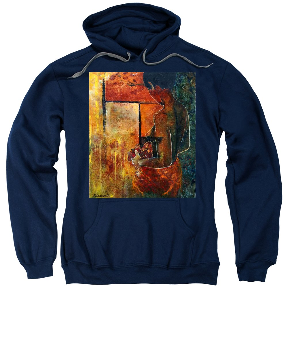 Woman Girl Fashion Nude Sweatshirt featuring the painting Nude by Pol Ledent