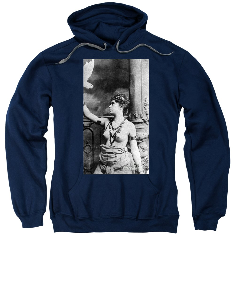 1899 Sweatshirt featuring the painting Nude With Bird, 1899 by Granger