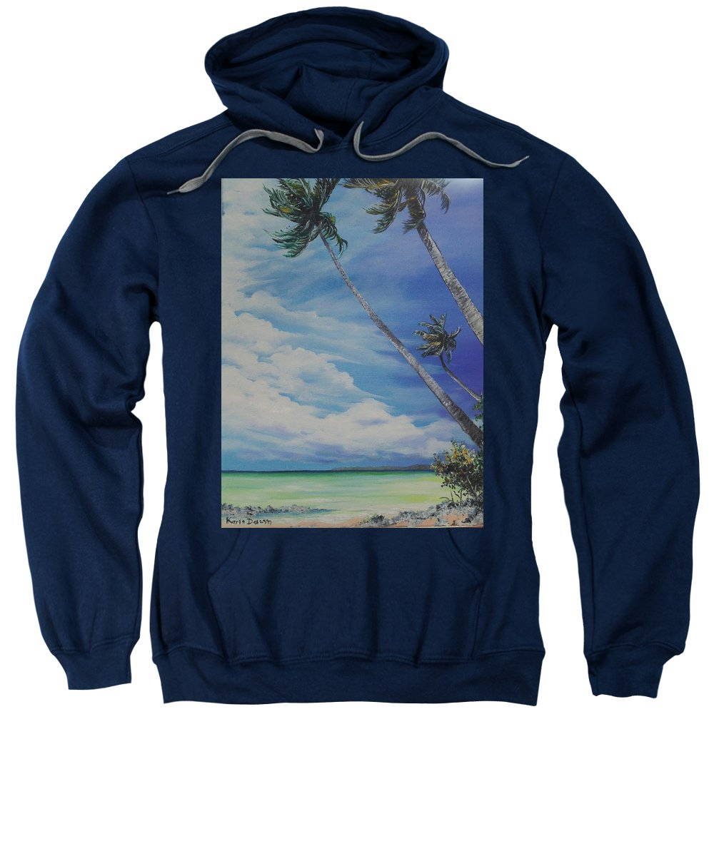Trinidad And Tobago Seascape Sweatshirt featuring the painting Nylon Pool Tobago. by Karin Dawn Kelshall- Best