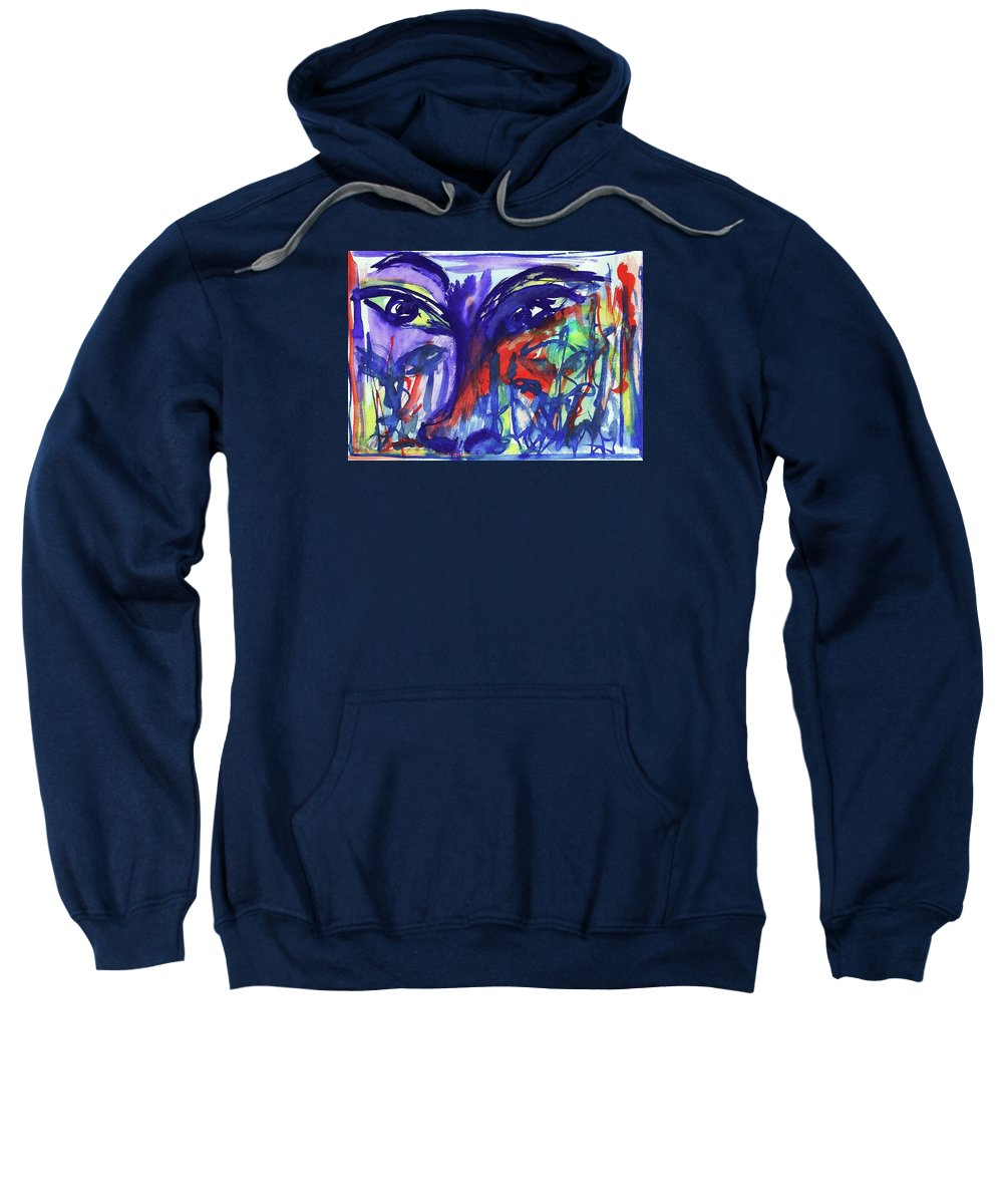 The Face Aquarela Sweatshirt featuring the painting O Rosto II by Nila Poduschco