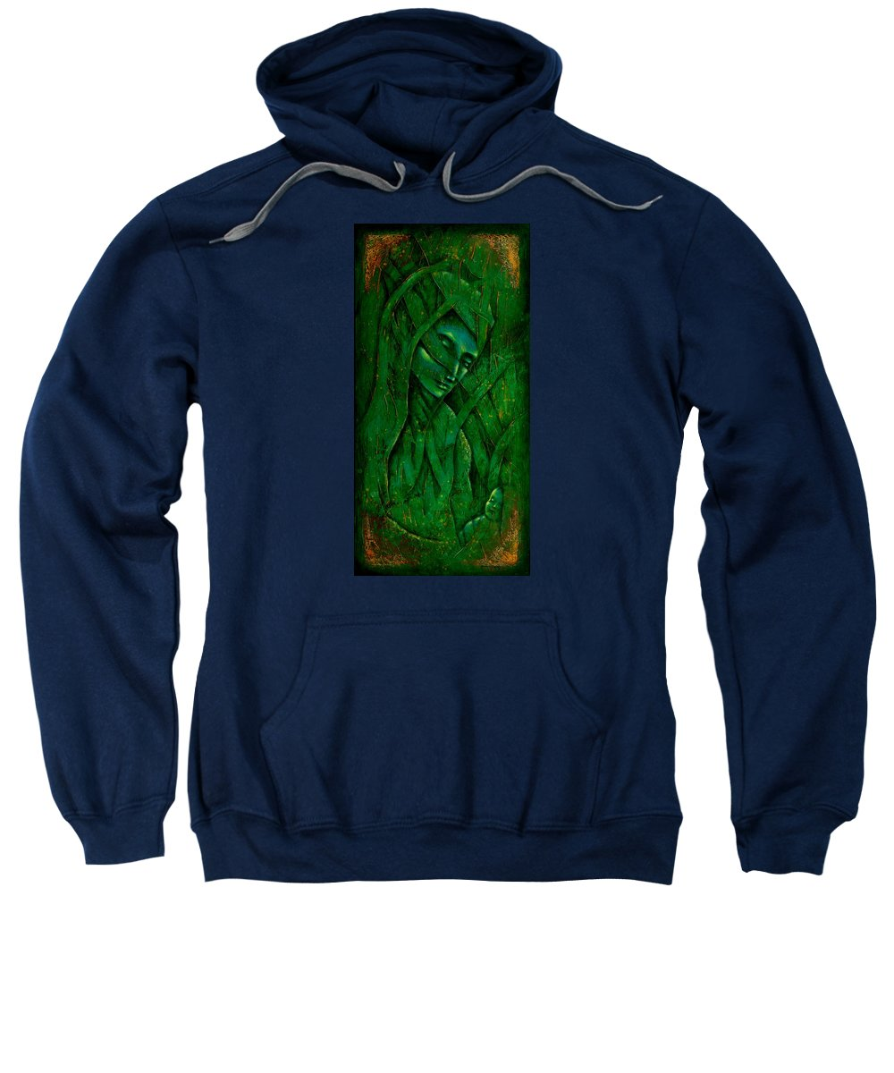 Native American Sweatshirt featuring the painting Ocean Birth by Kevin Chasing Wolf Hutchins
