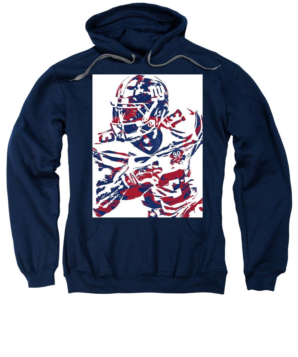Odell Beckham Jr Sweatshirt featuring the mixed media Odell Beckham Jr New York Giants Pixel Art 7 by Joe Hamilton