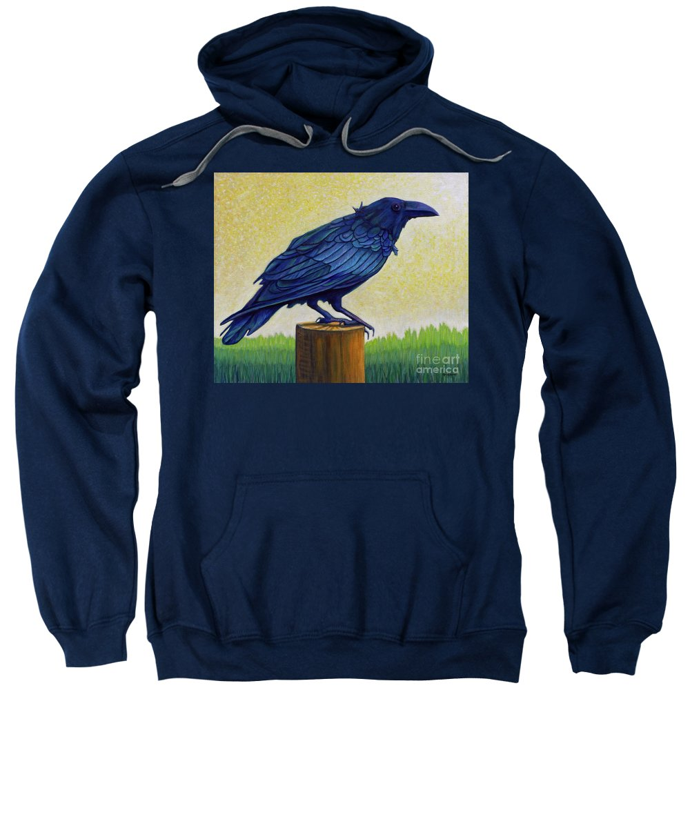 Raven Sweatshirt featuring the painting Old Priest In Passion by Brian Commerford