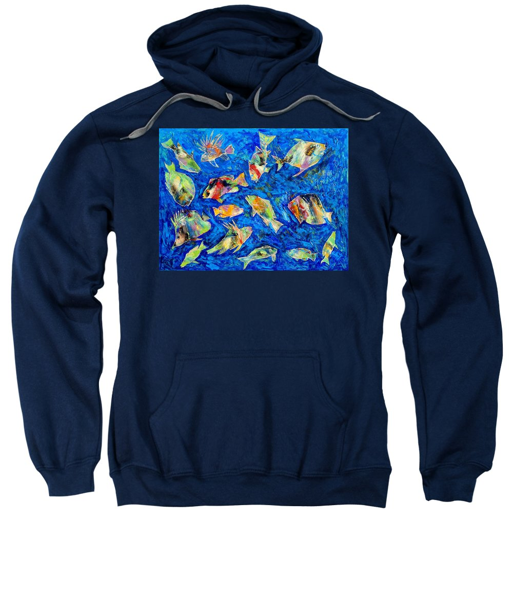 Fish Sweatshirt featuring the painting Old School by Dominic Piperata
