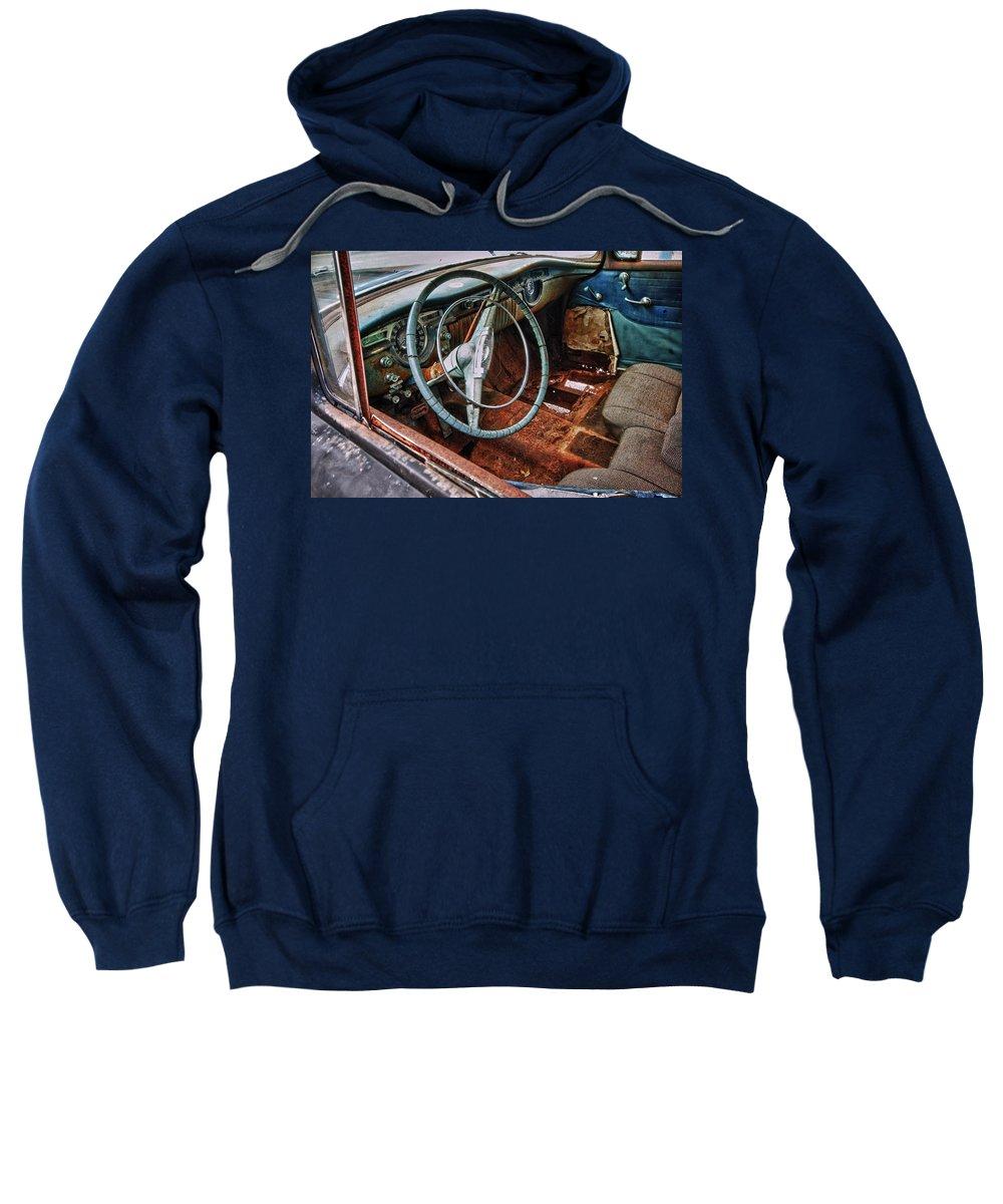 Car Sweatshirt featuring the digital art Olds Interior by Michael Thomas