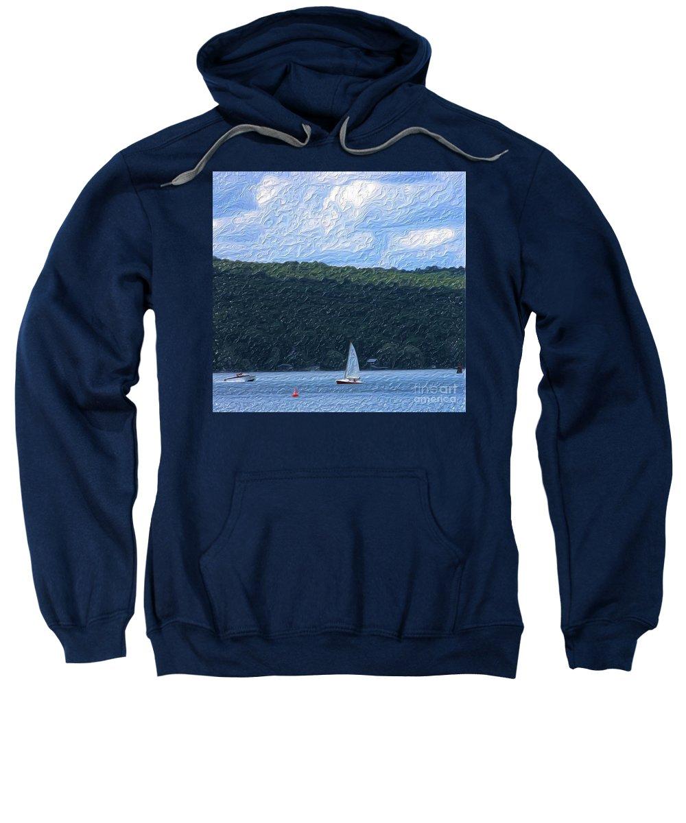 Landscape Sweatshirt featuring the photograph On Cayuga Lake by David Lane