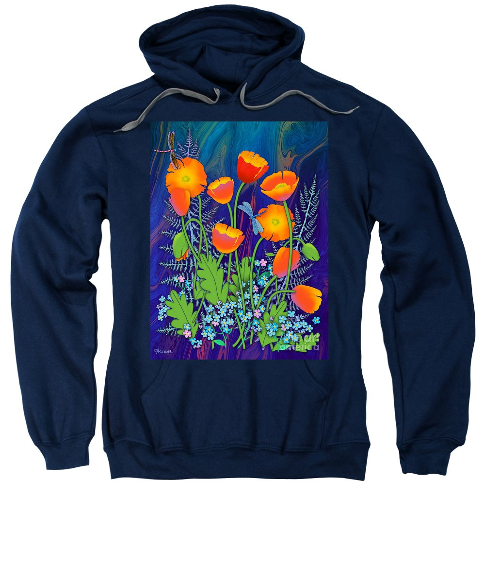Orange Poppies And Forget Me Nots Sweatshirt featuring the painting Orange Poppies And Forget Me Nots by Teresa Ascone