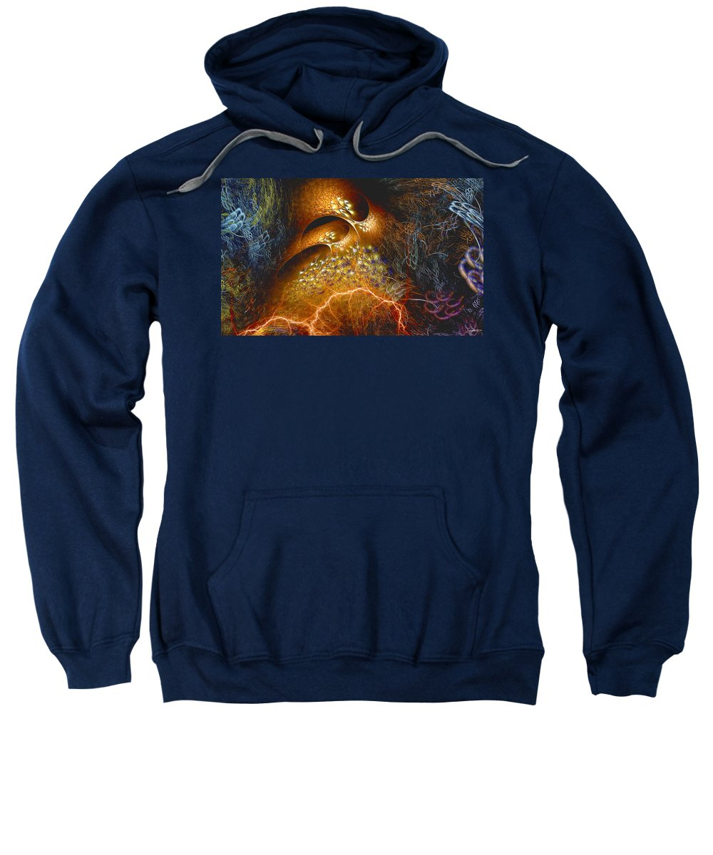 Abstract Sweatshirt featuring the digital art Origination by Casey Kotas