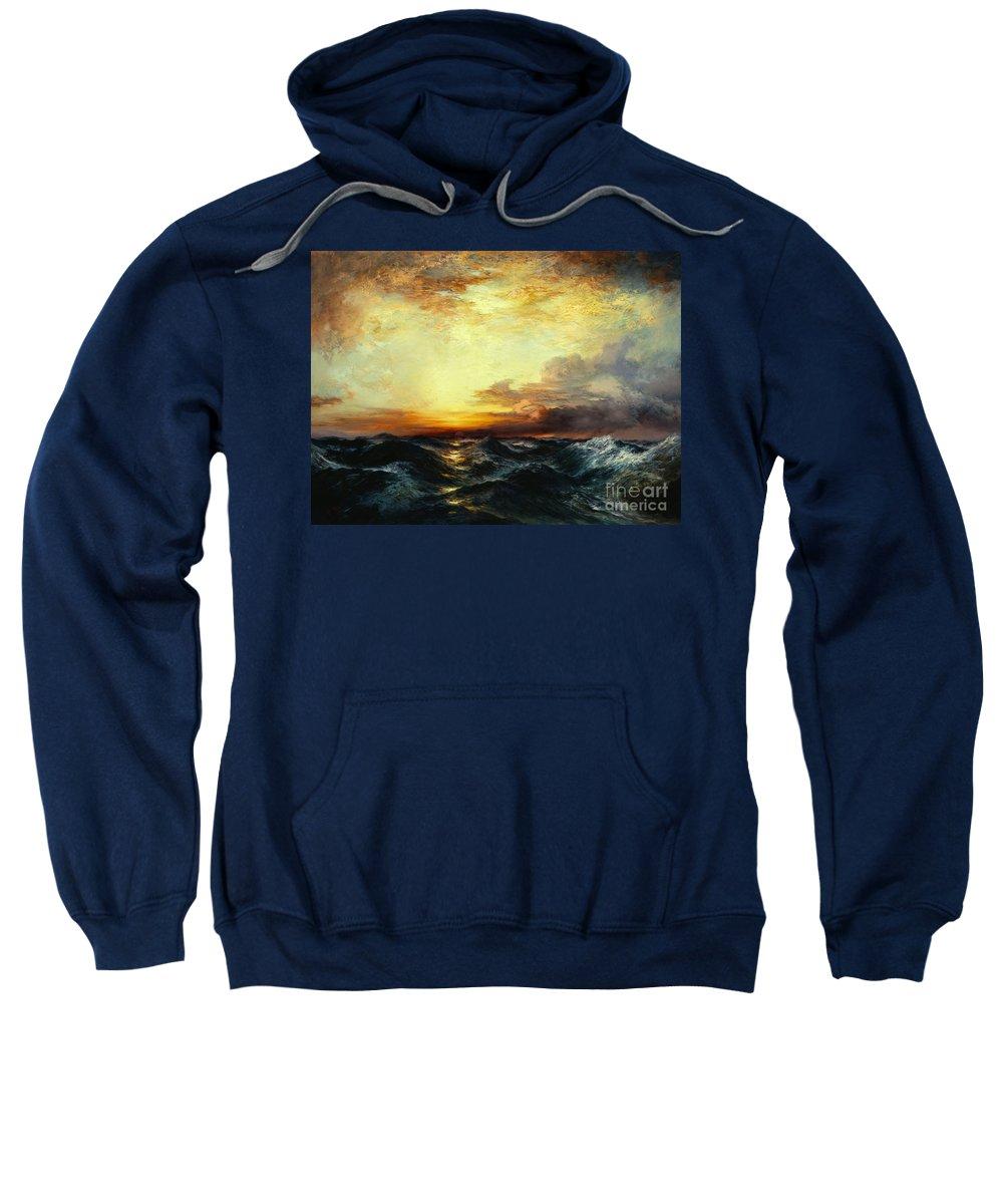 Thomas Moran Sweatshirt featuring the painting Pacific Sunset by Thomas Moran