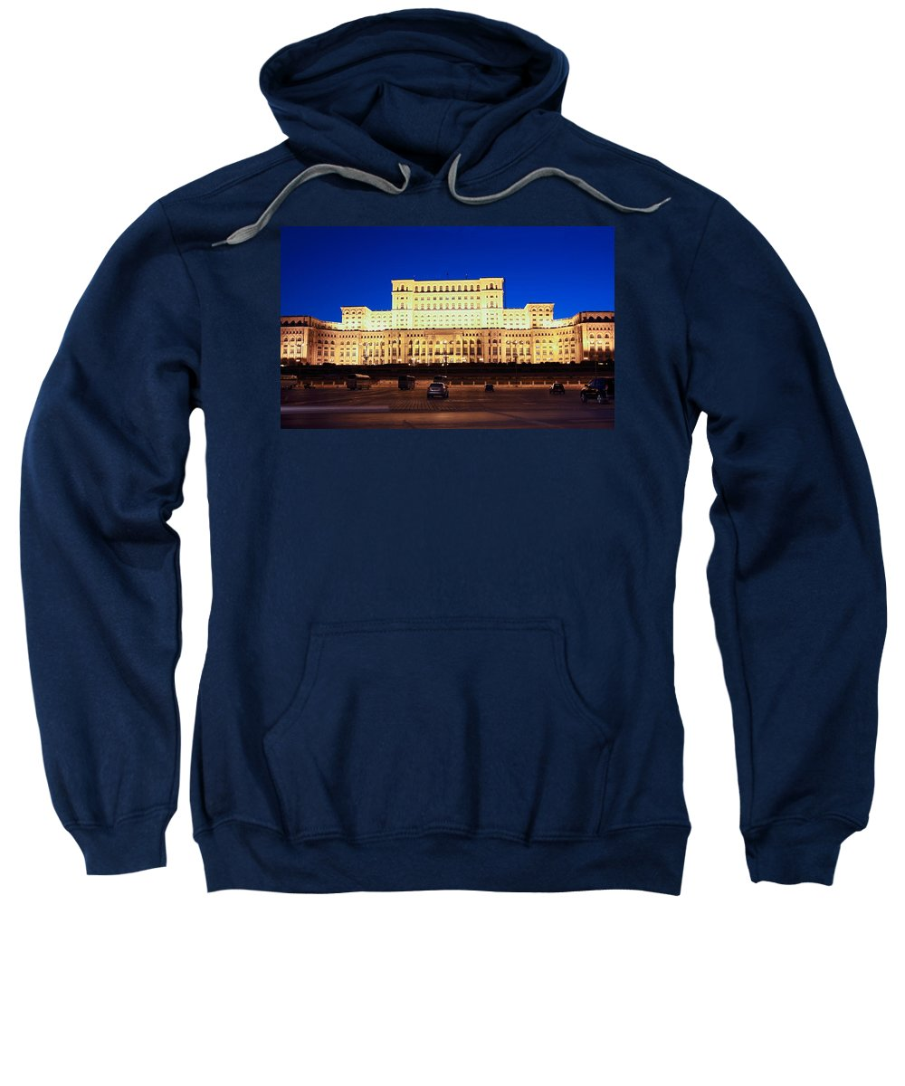 Palace Of Parliament Sweatshirt featuring the photograph Palace Of Parliament At Night by Sally Weigand