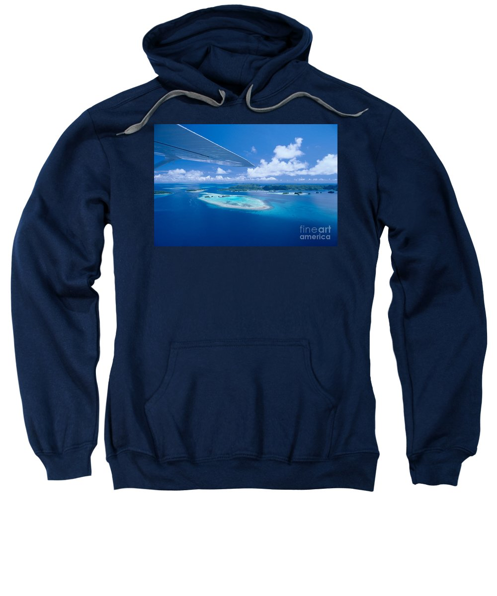 Aerial Sweatshirt featuring the photograph Palau Aerial by Ed Robinson - Printscapes
