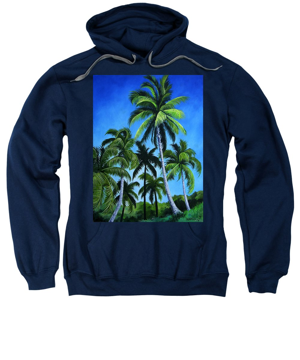 Palms Sweatshirt featuring the painting Palm Trees Under A Blue Sky by Juan Alcantara