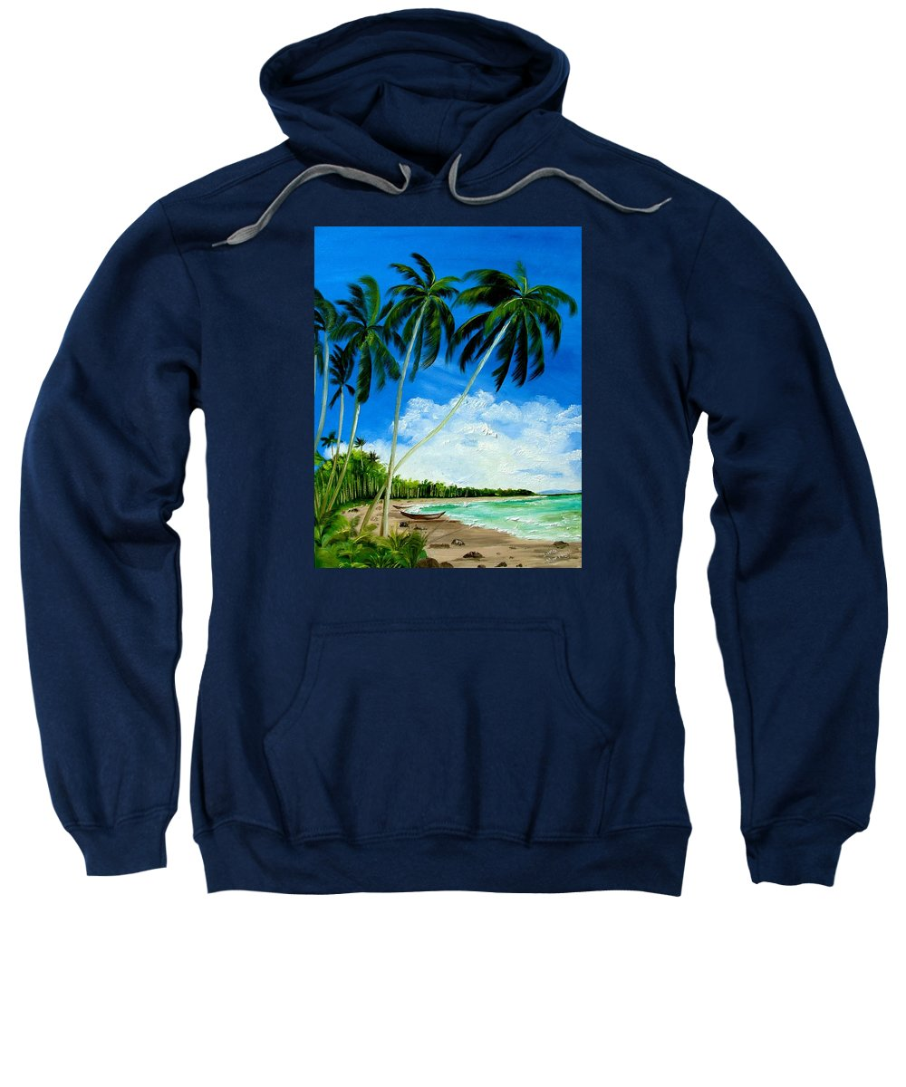 Palms Sweatshirt featuring the painting Palms By The Ocean by Inna Montano