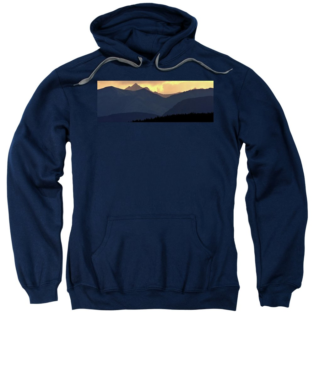 Sweatshirt featuring the digital art Panoramic Rocky Mountain View At Sunset by Mark Duffy