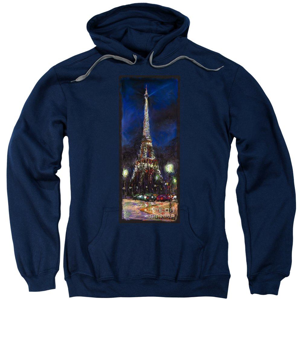 Pastel Sweatshirt featuring the painting Paris Tour Eiffel by Yuriy Shevchuk