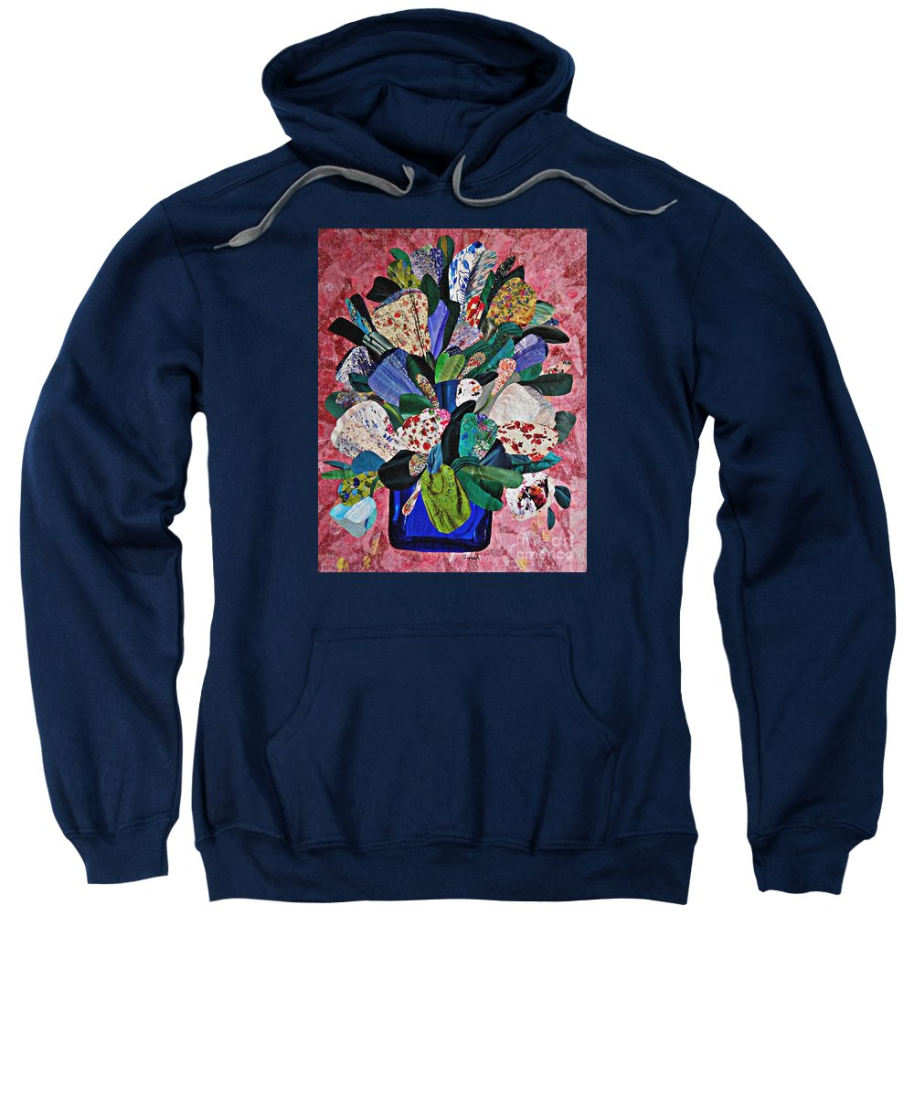 Floral Sweatshirt featuring the mixed media Patchwork Bouquet by Sarah Loft