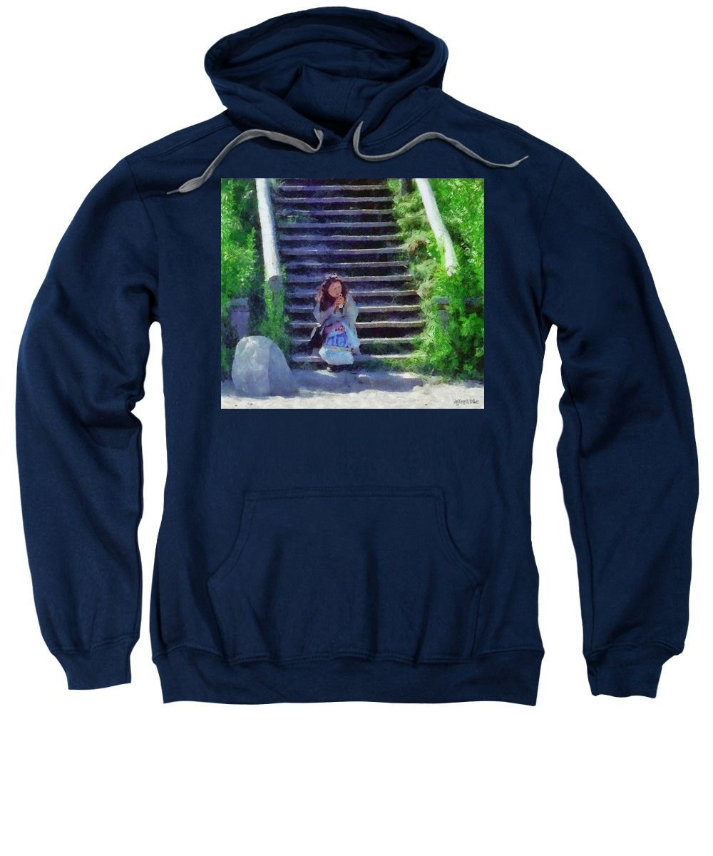 Woman Sweatshirt featuring the painting Patiently Waiting by Jeffrey Kolker