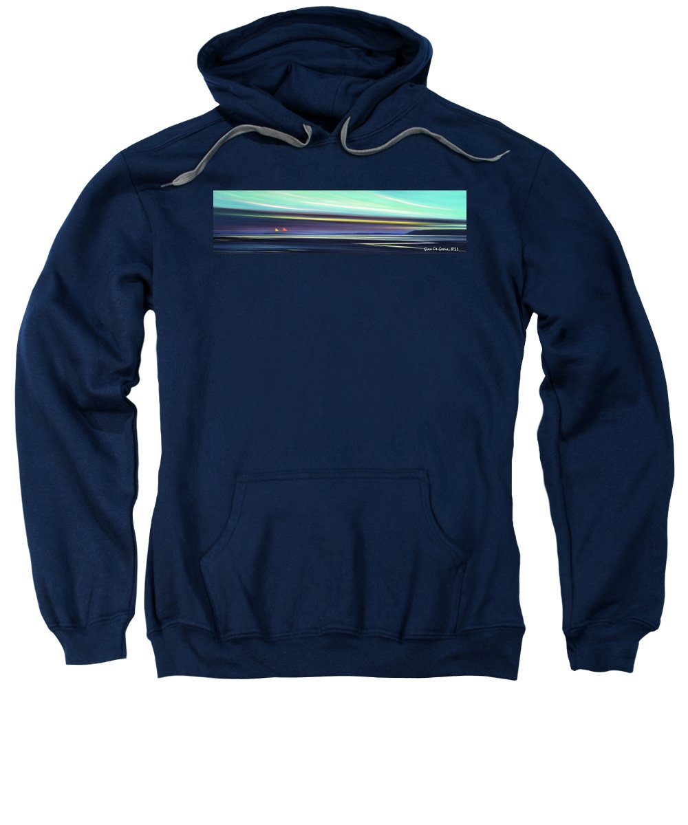 Sunset Sweatshirt featuring the painting Peace Is Colorful - Panoramic 2 by Gina De Gorna