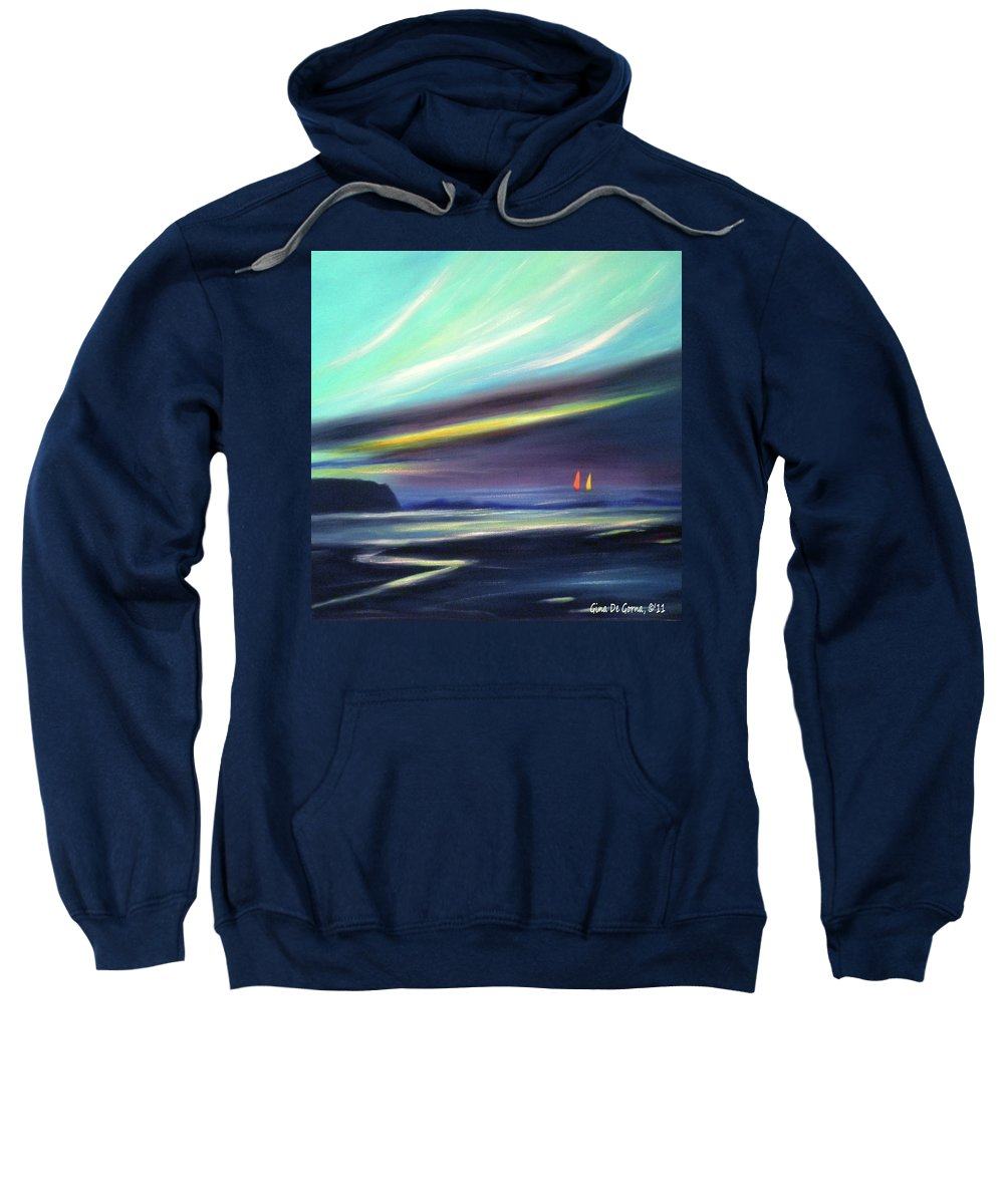 Brown Sweatshirt featuring the painting Peace Is Colorful 2 - Square by Gina De Gorna