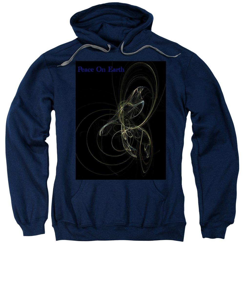 Abstract Digital Painting Sweatshirt featuring the digital art Peace On Earth by David Lane