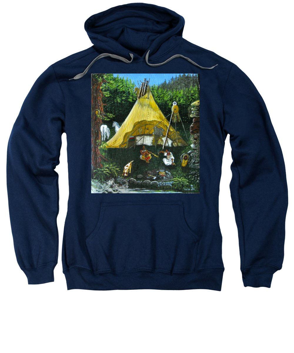 American Indians Sweatshirt featuring the painting Peace Smoke At Sundown by V Boge