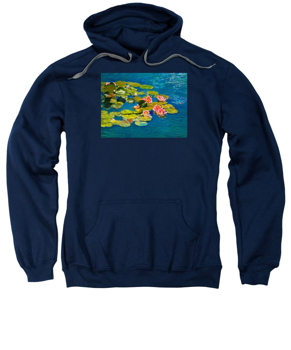 Water Lilies Sweatshirt featuring the painting Peaceful Belonging by Michael Durst