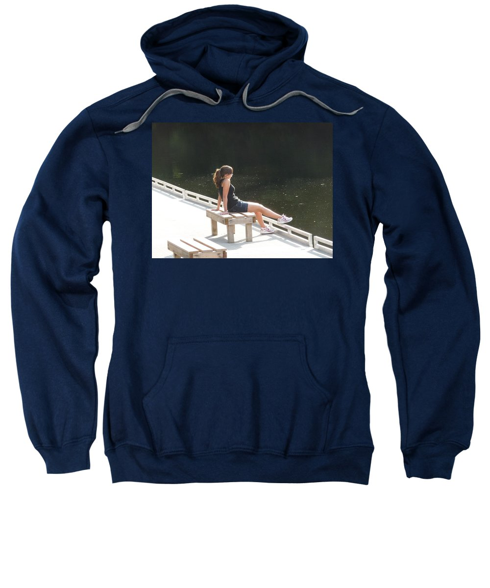 Pretty Girl Sweatshirt featuring the photograph Pensive by Ruth Kamenev