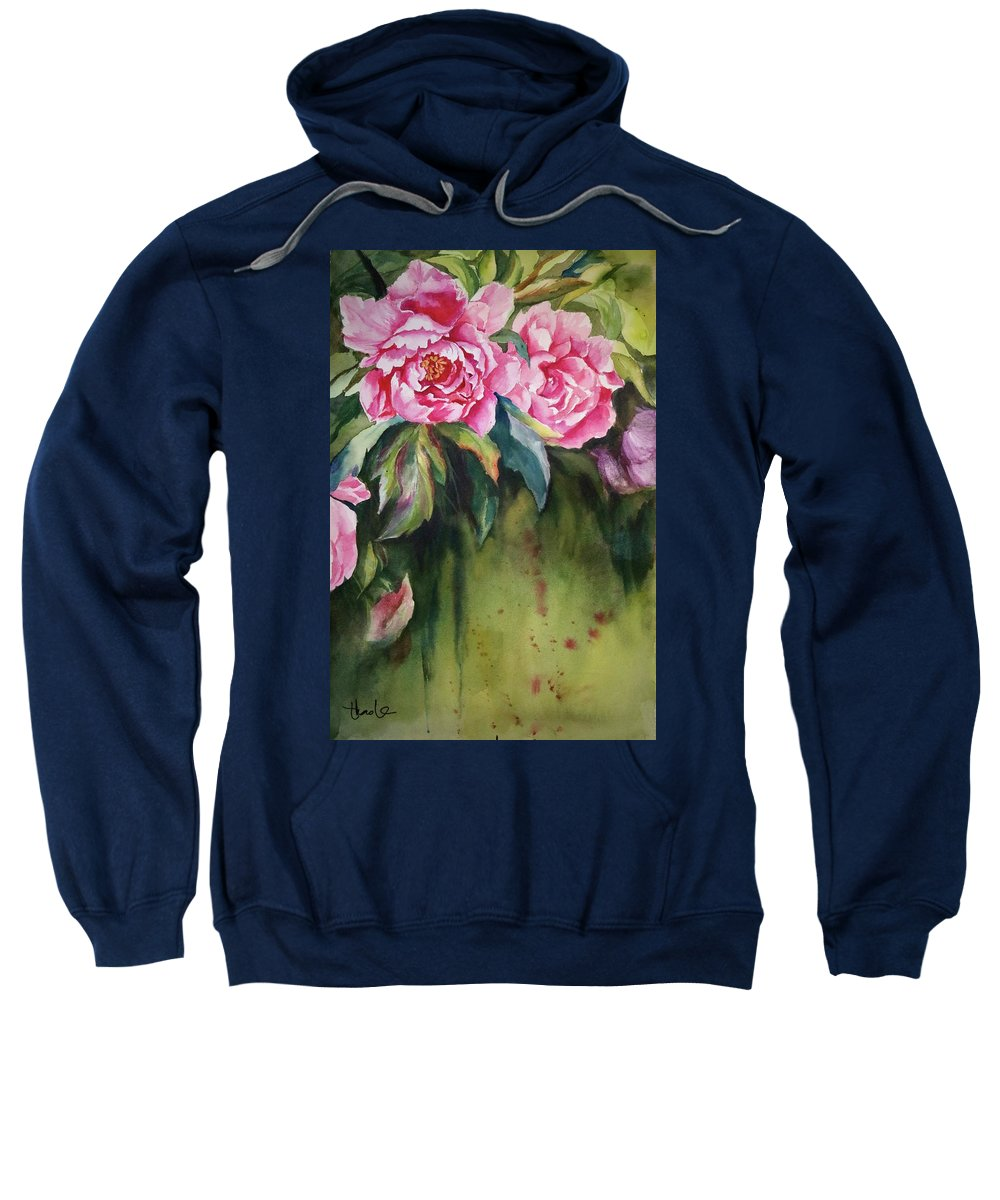 Flower Sweatshirt featuring the painting Peony by Thao Le