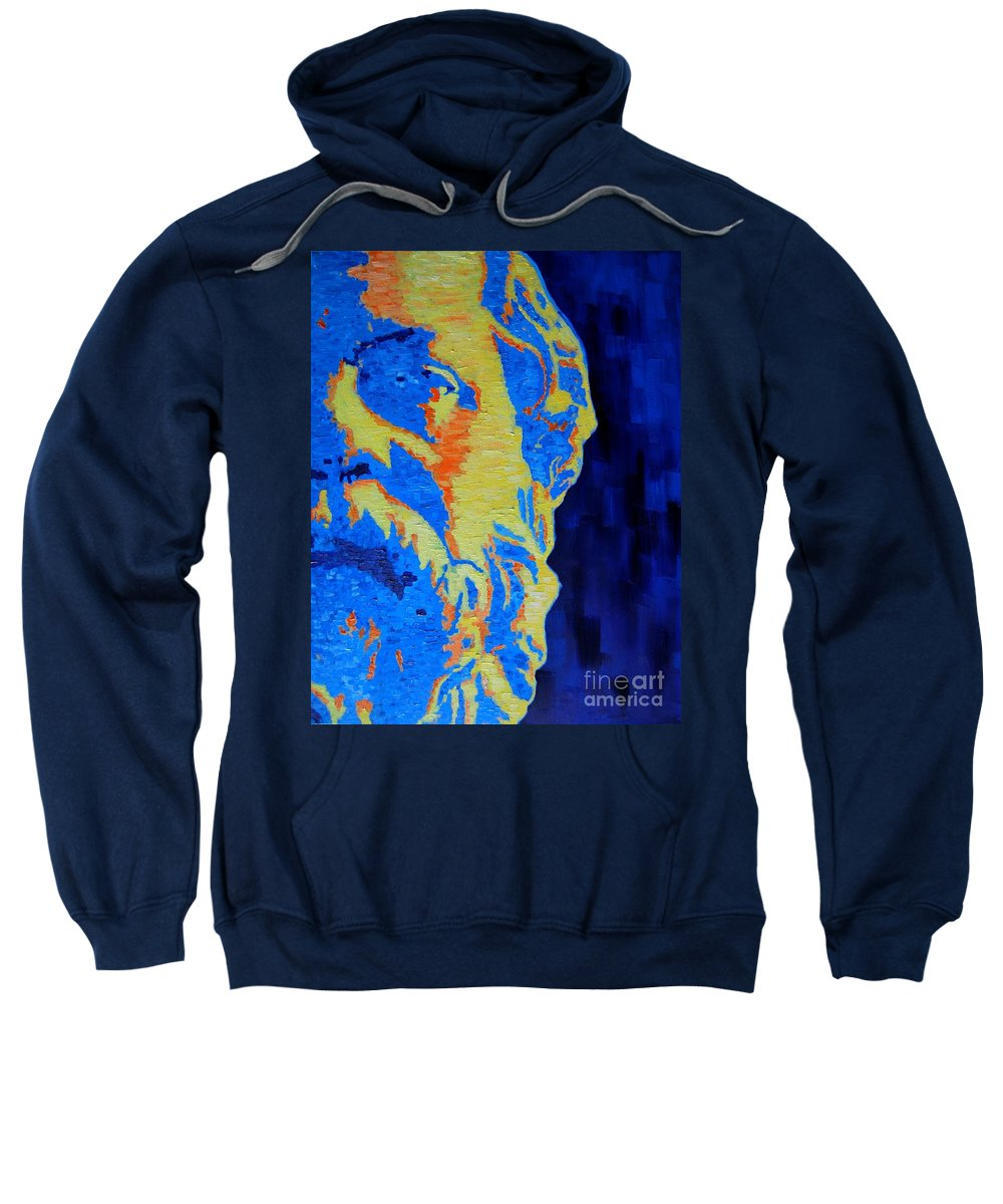 Socrates Sweatshirt featuring the painting Philosopher - Socrates 3 by Ana Maria Edulescu