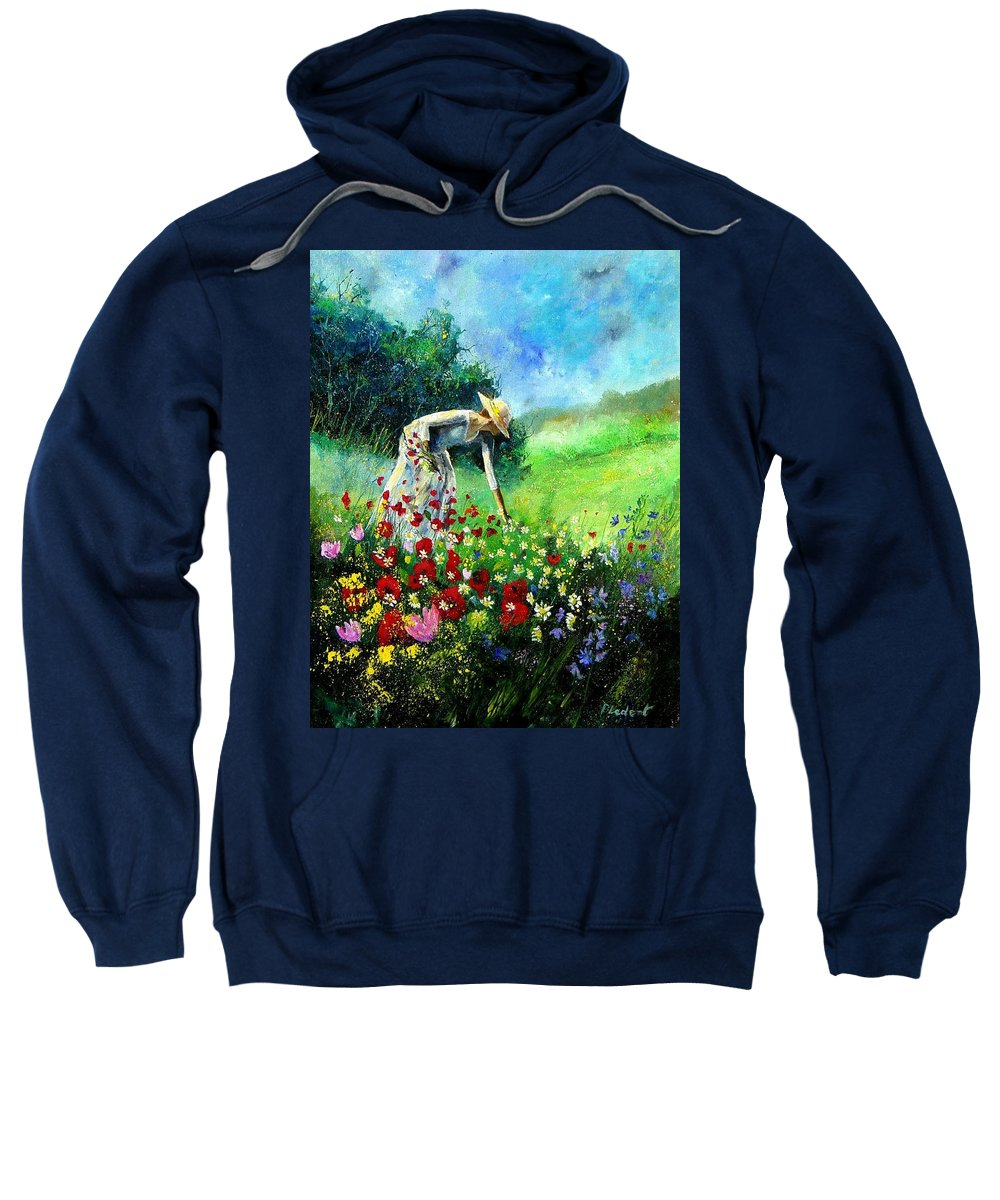 Poppies Sweatshirt featuring the painting Picking Flower by Pol Ledent
