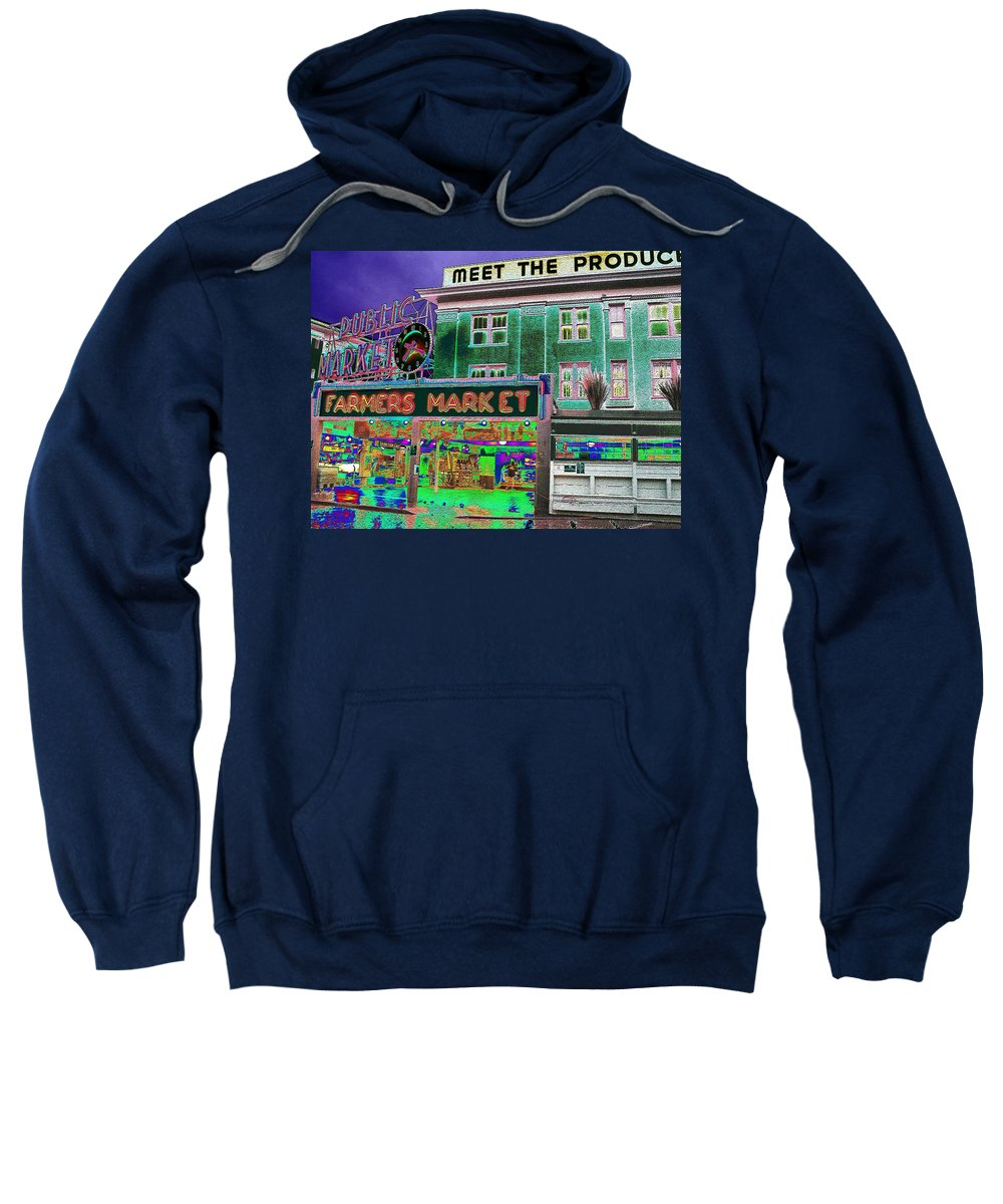 Seattle Sweatshirt featuring the photograph Pike Place Market by Tim Allen