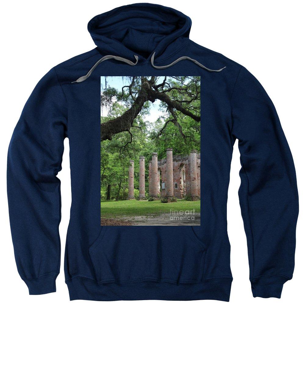 Old Sheldon Church Ruins Sweatshirt featuring the photograph Pillars Of Sheldon Church Ruins by Carol Groenen