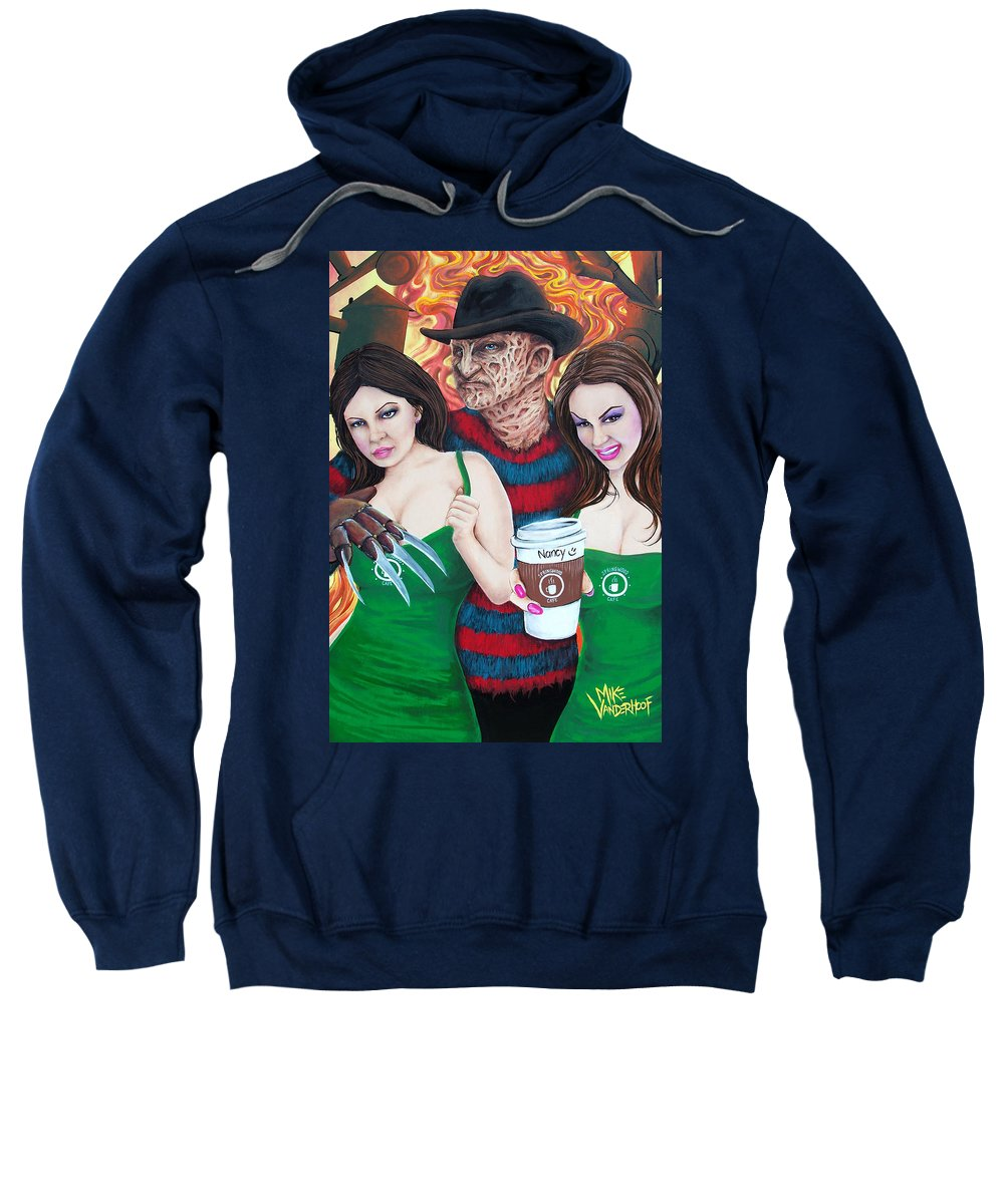 Freddy Krueger Sweatshirt featuring the painting Pimp Freddy by Michael Vanderhoof