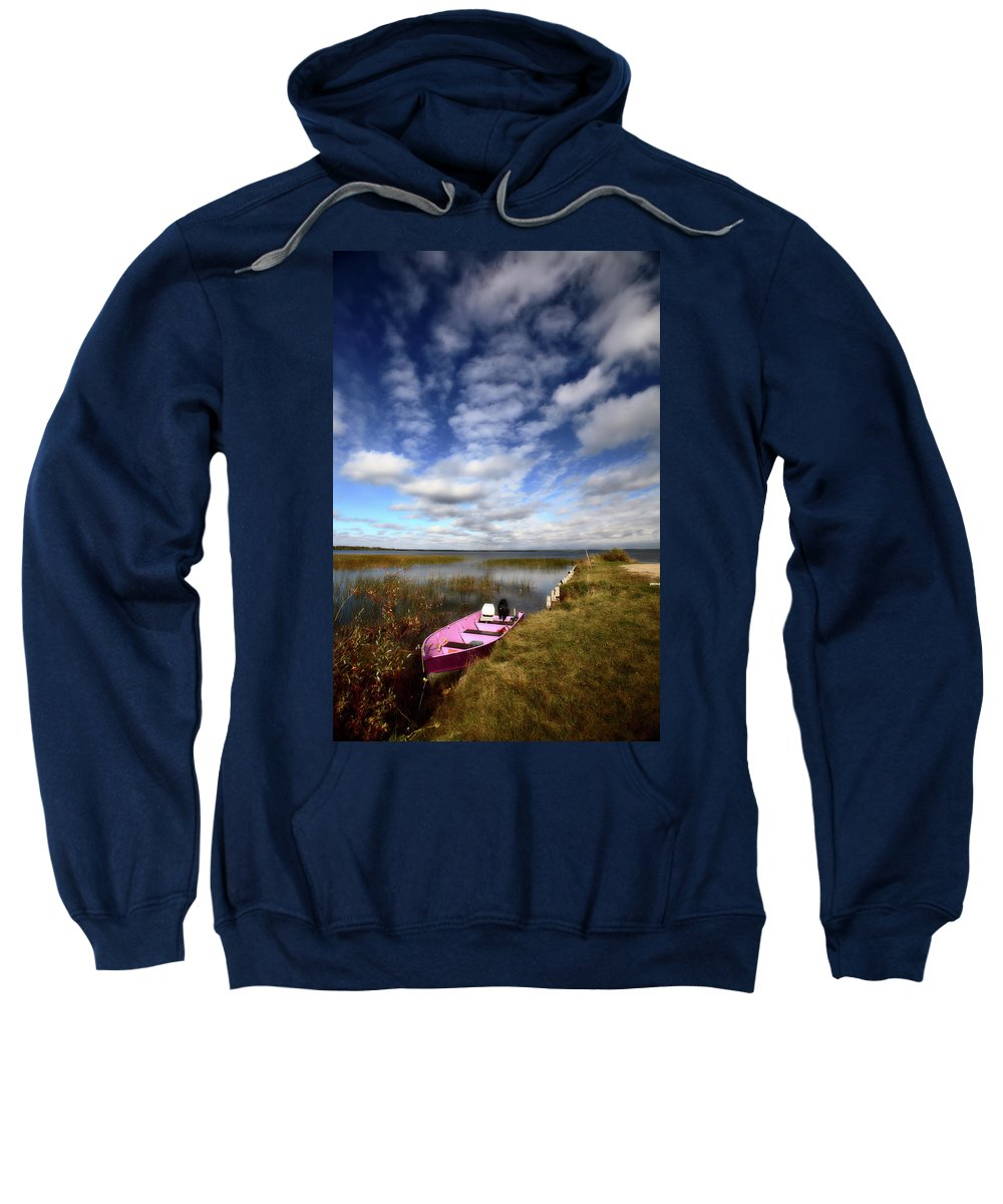 Pink Sweatshirt featuring the digital art Pink Boat In Scenic Saskatchewan by Mark Duffy