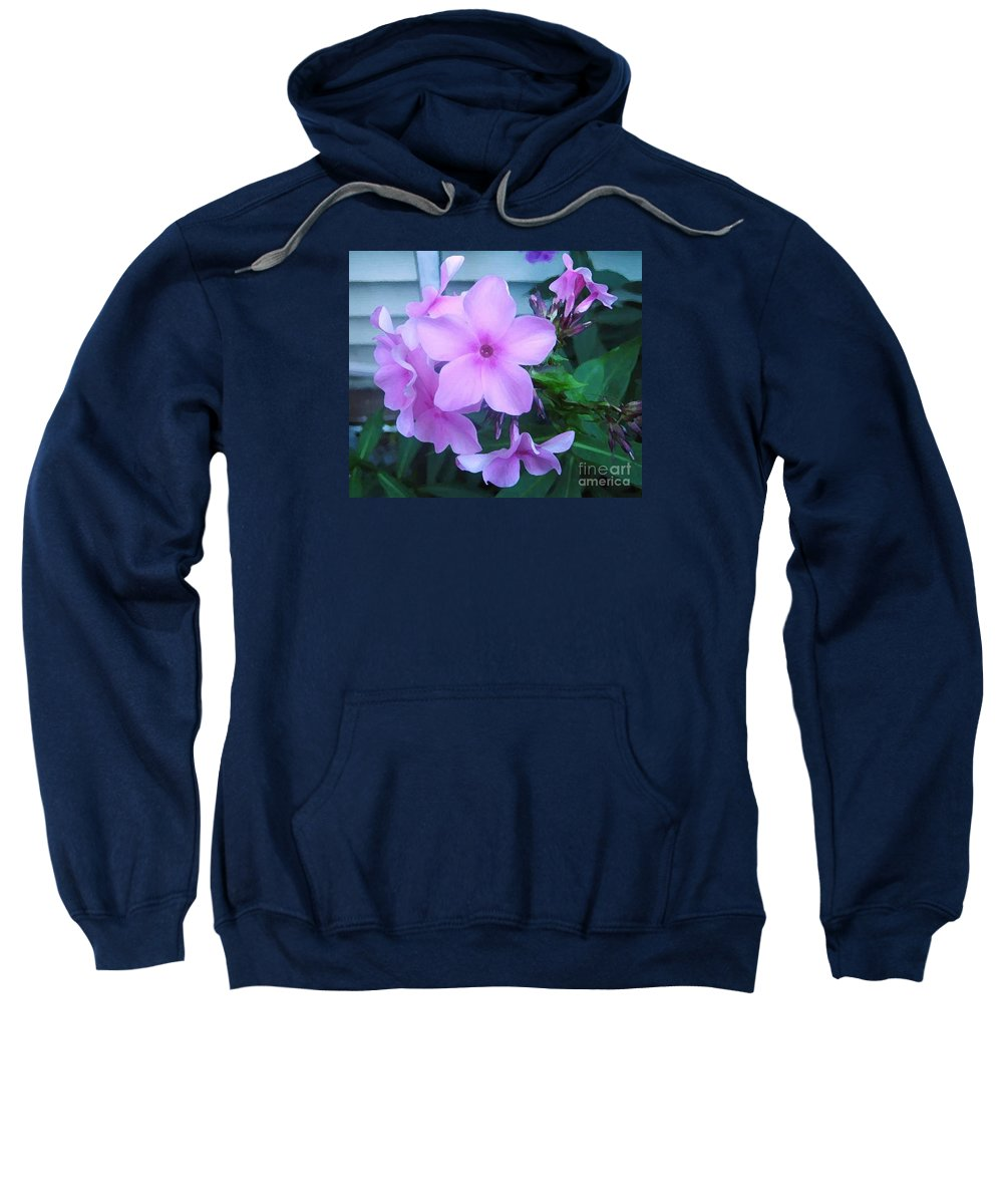 Pink Flowers Artwork Sweatshirt featuring the photograph Pink Flowers In The Garden by Reb Frost