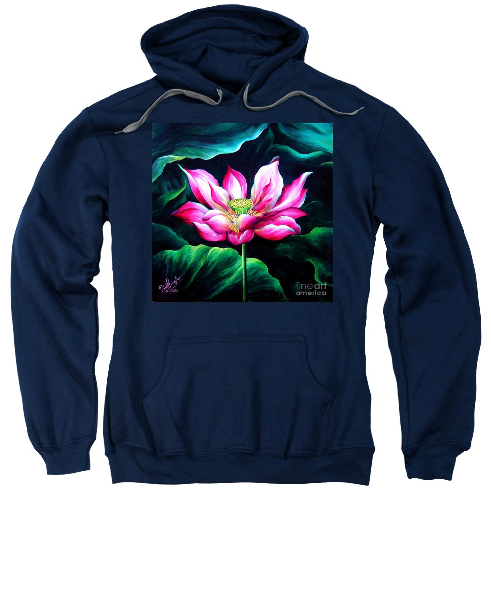 Pink Sweatshirt featuring the painting Pink Lotus From L.a. City Park by Sofia Metal Queen