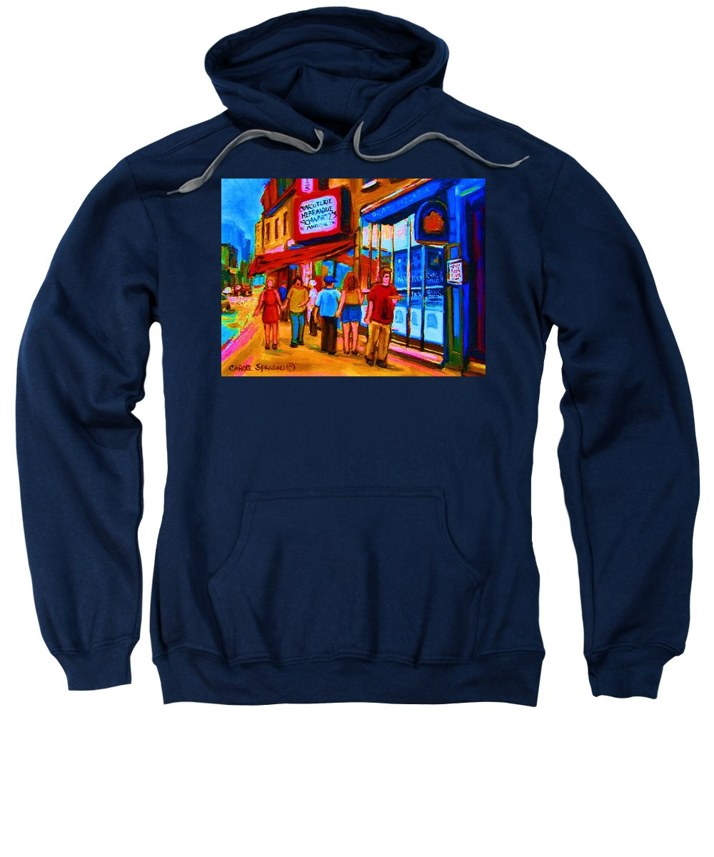 Schwartzs Hebrew Deli Sweatshirt featuring the painting Pizza To Go by Carole Spandau