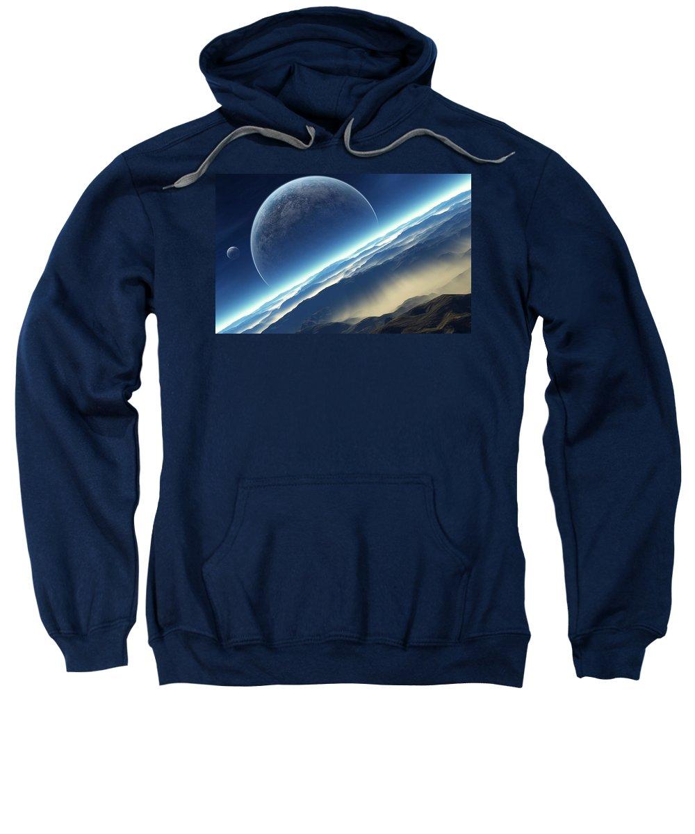 Planet Rise Sweatshirt featuring the digital art Planet Rise by Bert Mailer