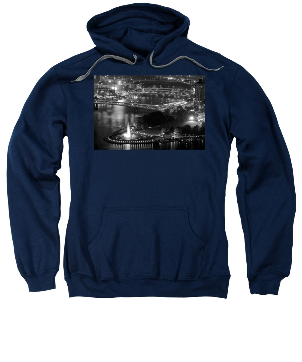 Pittsburgh Sweatshirt featuring the photograph Point State Park In Black And White by Frozen in Time Fine Art Photography