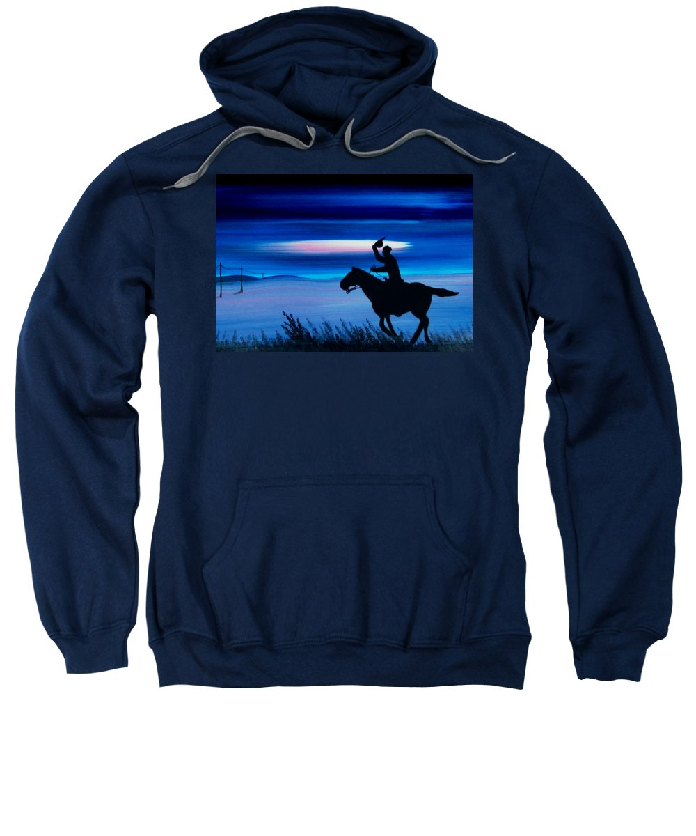 Horse Sweatshirt featuring the painting Pony Express Rider Blue by Reggie Hart