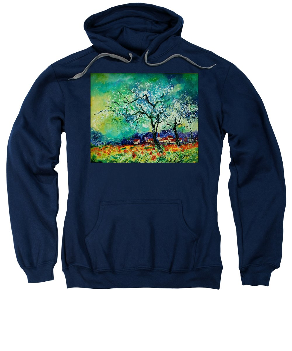 Landscape Sweatshirt featuring the painting Poppies And Appletrees In Blossom by Pol Ledent