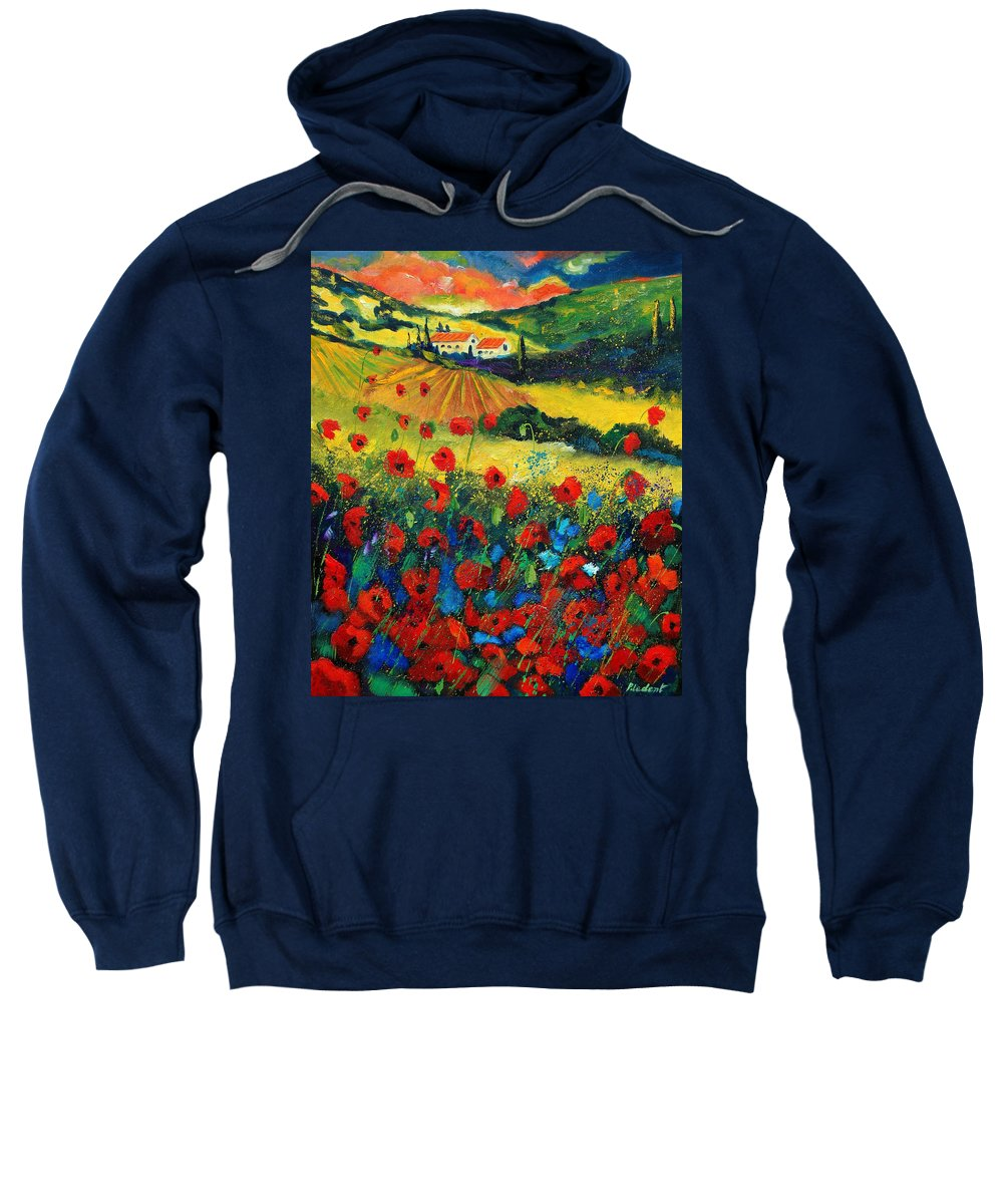 Flowers Sweatshirt featuring the painting Poppies In Tuscany by Pol Ledent