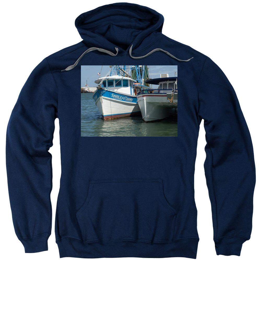 Florida; Usa; Boat; Fishing; Boats; Party; Shrimp; Shrimper; Shrimp; Port; Harbor; Harbour; Canavera Sweatshirt featuring the photograph Port Canaveral In Florida by Allan Hughes