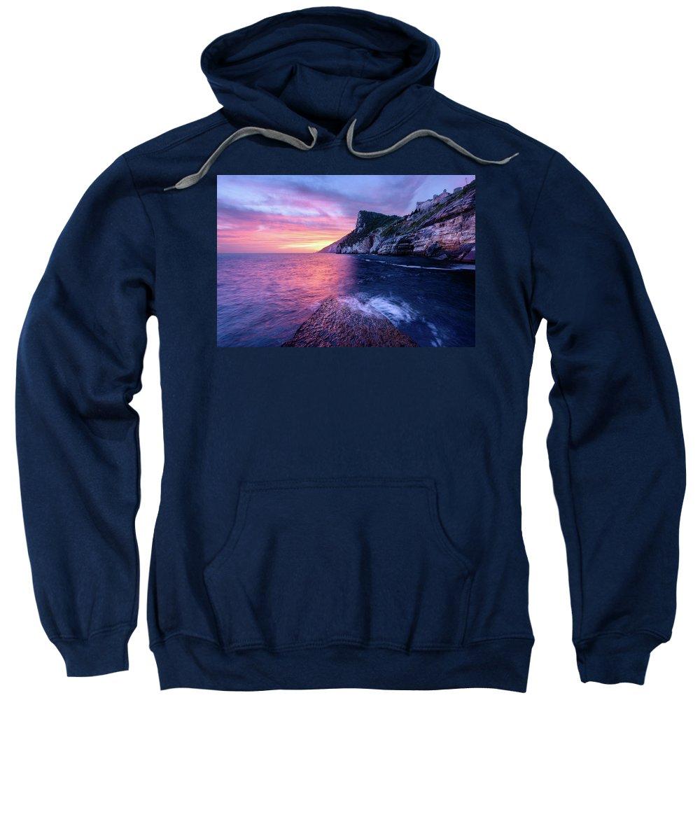 Europe Sweatshirt featuring the photograph Portevenere Sunset by Michael Blanchette