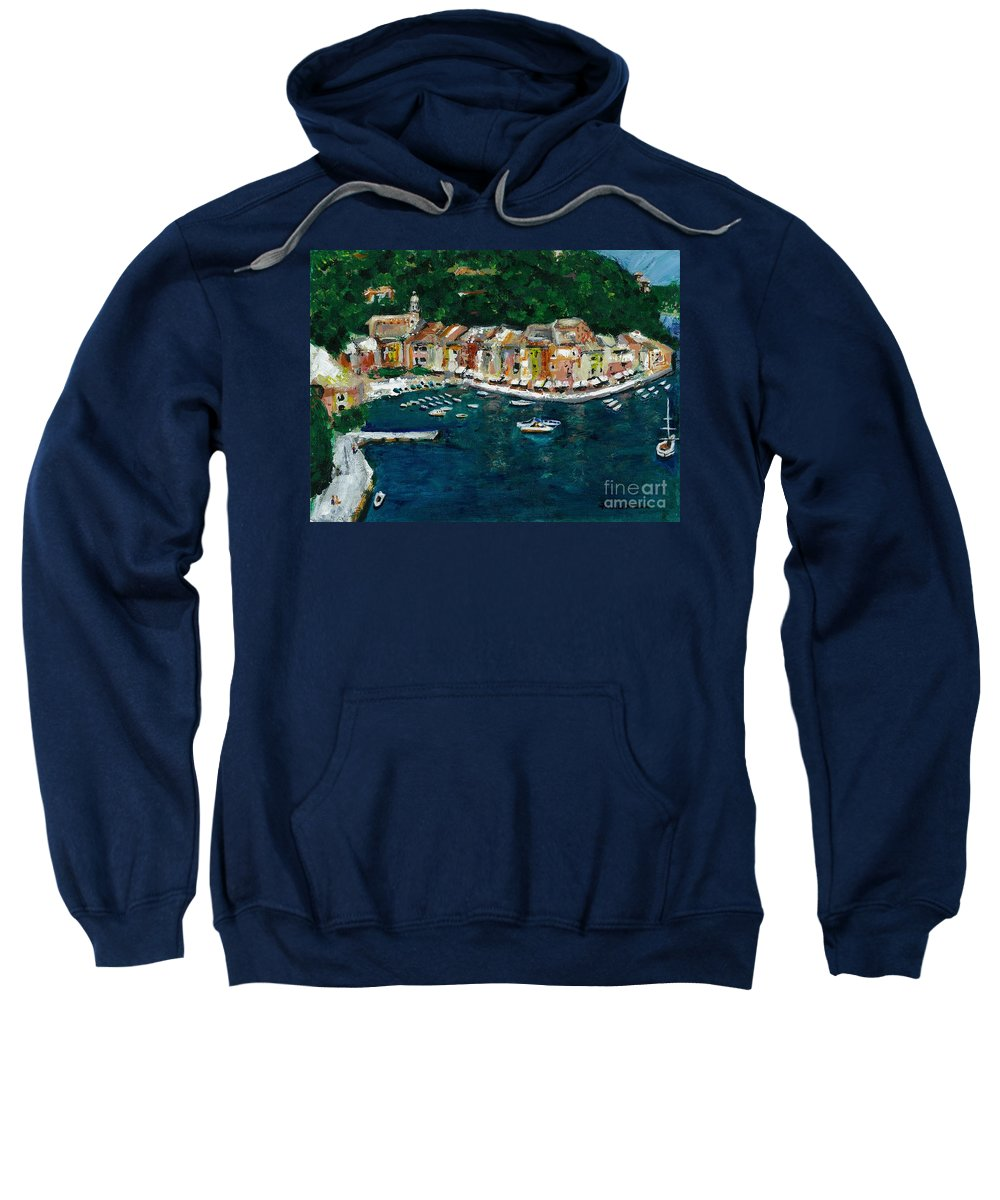 Abstact Italy Sweatshirt featuring the painting Portifino Italy by Frances Marino