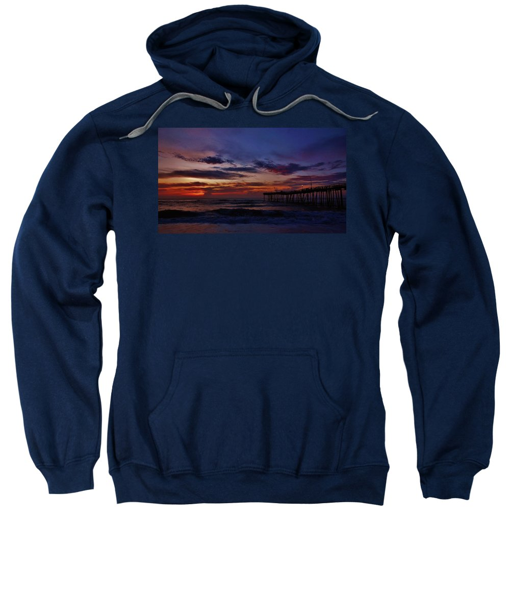 Mark Lemmon Cape Hatteras Nc The Outer Banks Photographer Subjects From Sunrise Sweatshirt featuring the photograph Predawn Avon Pier 2 4/10 by Mark Lemmon
