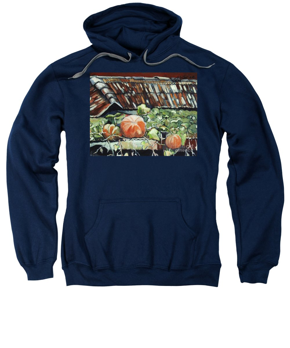 Pumpkin Paintings Sweatshirt featuring the painting Pumpkins On Roof by Seon-Jeong Kim