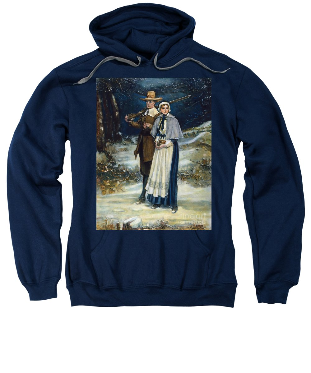 17th Century Sweatshirt featuring the photograph Puritans Going To Church by Granger